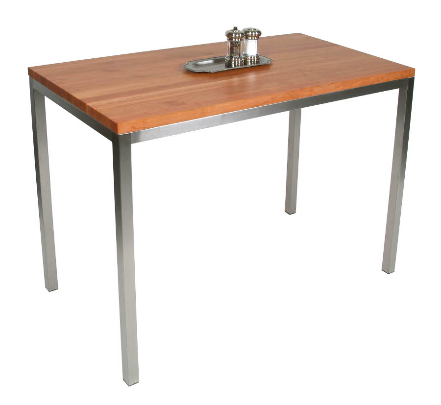 "Boos Cherry & Stainless Steel Metropolitan Center Table - 48""x24"", 36"